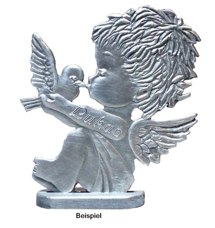 Engel mit Taube & Gravur im Arm