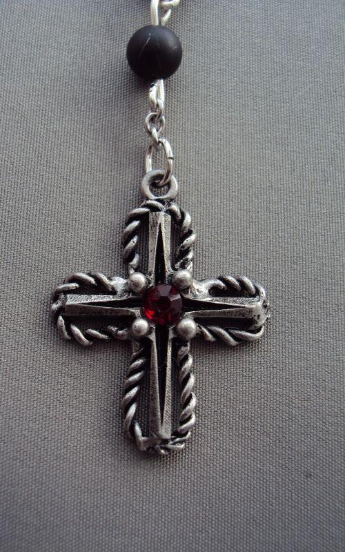 Kreuz patiniert mit Kristall