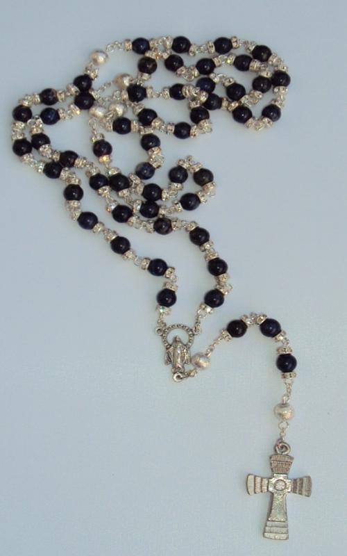 Lapislazuli blau mit Kristallrondell Rosenkranz mit 59 Perlen