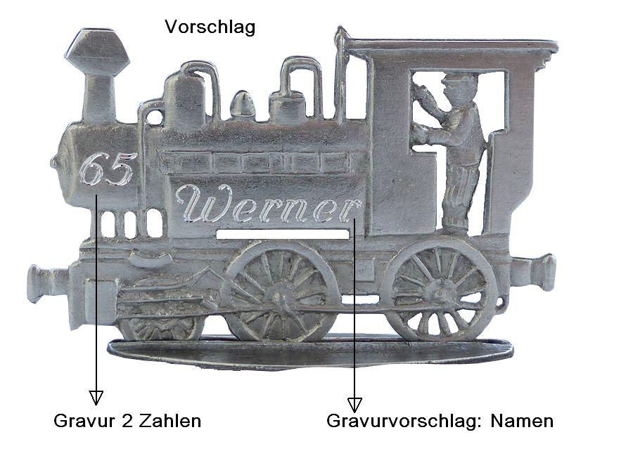 Lokomotive & Anhänger mit Maßangaben